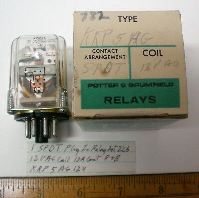 1 Plug-In Relay,SPDT,12VAC Coil,10A Cont Potter Brumfield#KRP5AG12V, Lot 226 USA