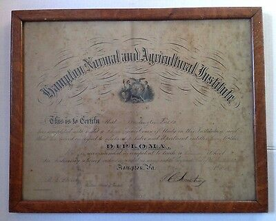 1878 HAMPTON UNIVERSITY DIPLOMA of GEORGE WASHINGTON FIELDS, VIRGINIA ATTORNEY