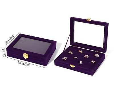 Purple Clear Glass Top Suitcase Ring Velvet Jewelry Retail Display Box Case