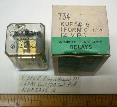 1 New Plug-In Relay, SPDT,12VAC Coil,10A Cont Potter Brum.#KUP5A1512,Lot 227 USA