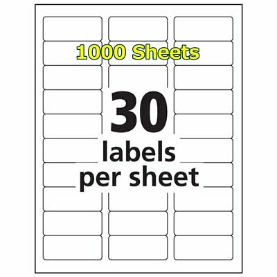 1 x 2 5/8 30000 Address Blank Labels Laser Ink Jet Mailing Adhesive 2.625 x 1