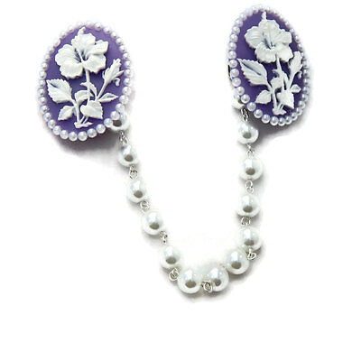 Purple Hibiscus Cameo Sweater Clip