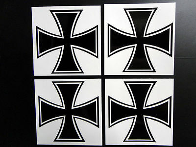 Iron Cross Maltese Cross 4x Sticker Decal, each is 2.7 x 2.7 in., CHOOSE COLORS!