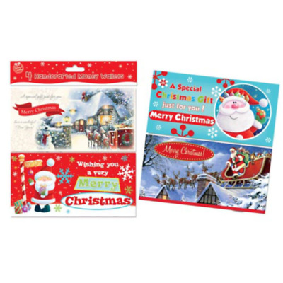 Hand Crafted Christmas Money Wallets with Envelopes, Cute/Trad Designs Pack 4