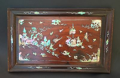 Chinese Indochinese tray wood & mother of pearl 19th century Indochinois / Chine