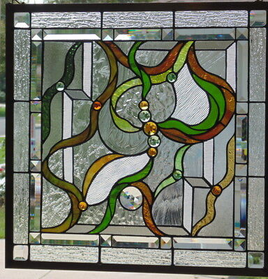 """Stained Glass window hanging 22 1/2"""" Square"""