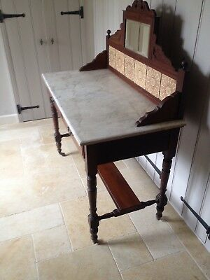 Victorian/Edwardian Tiled And Mirrored Washstand With Marble Top Wiltshire