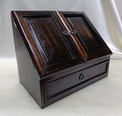Estate Antique Wooden Secretary Filing Cabinet w. Bottom Drawer & Ring Handles
