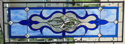"""Stained Glass window Transom  hanging 40 X 14"""""""