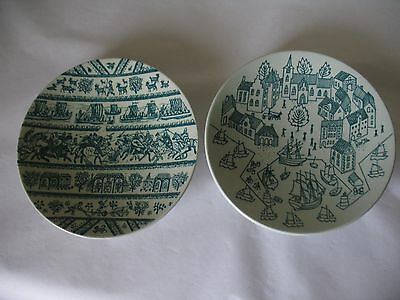 Nymolle Art Faience Denmark Hoyrup Set of 2 small plates green 4-5a 4006 limited