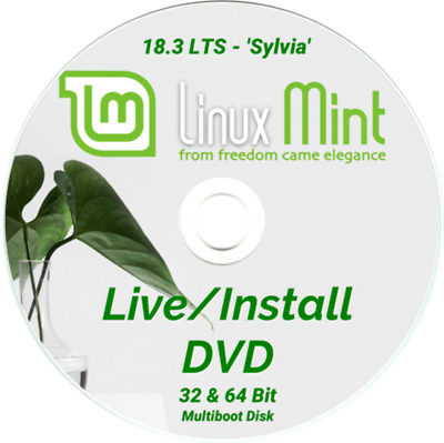 LINUX MINT Latest 18.2 LTS Bootable Live and Install DVD Disk - 32 & 64 Bit Disc