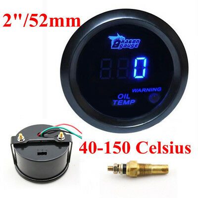 "2"" 52MM Digital LED Blue Oil Temp Temperature Gauge Car Auto Motorcycle Meter"