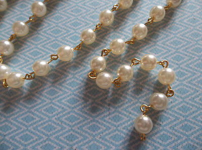 """Beaded Chain - 6mm Cream Pearls - Glass Beads on Gold Rosary Chain - Qty 18"""""""