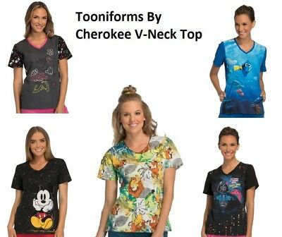 Cherokee Scrubs Print Tops Tooniforms Choose Style/Color NWT
