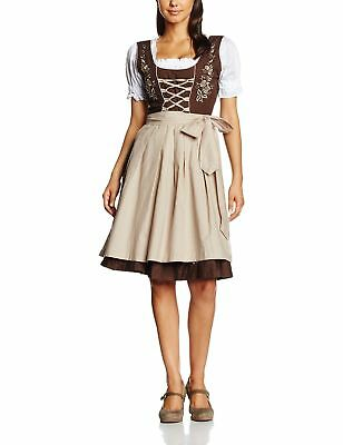 Gaudi-leathers Women's Set-3 Dirndl Pieces Embroidery Brown/Beige 36 Plus