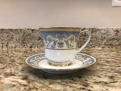 Noritake Polonaise Footed Cup & Saucer Set White Blue Gold Floral