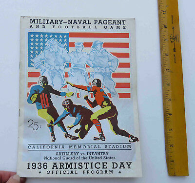 Original 1936 Armistice Day Football Program Military Naval Cal Memorial Stadium