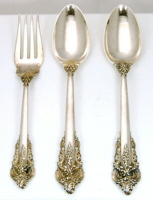 3 Piece Wallace Sterling Grande Baroque Serving Fork And Serving Spoons Nr