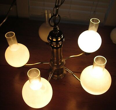 Vintage Antique Brass 5 Arm Ceiling Light Chadelier With Glass Globes