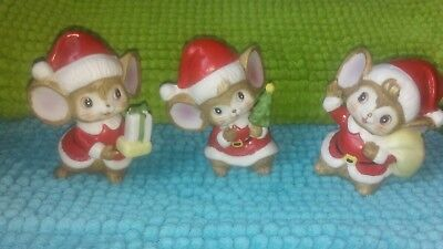 Vintage HOMCO Christmas Mice set of 3 porcelain Elf Mice