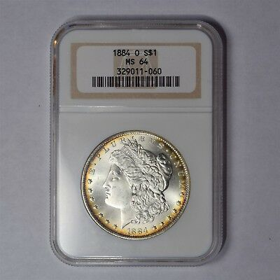 1884-O $1 Morgan Silver Dollar Ngc Ms64 Pq Rainbow Toning Undergrade?