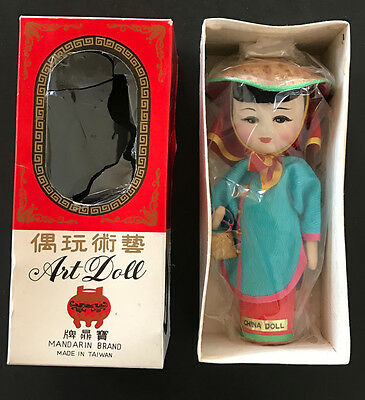 VTG Asian Art Doll Mandarin Painted Cloth Chinese 60's Made Taiwan Oriental NOS