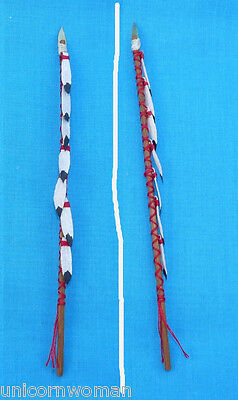 """1/9"""" Scale Miniature Native Reproduction War Lance #1 with mock eagle feathers"""