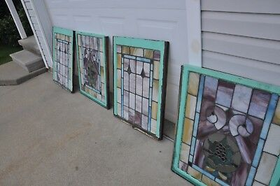 Flint Michigan Rare Pink Four Panel Stained Glass Set