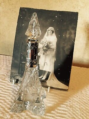 Antique Art Deco Crystal Glass Sterling Silver 1927 Eiffel Tower Perfume Bottle