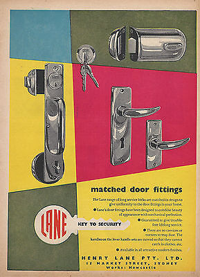 Lane Door Locks 1957 Advertising