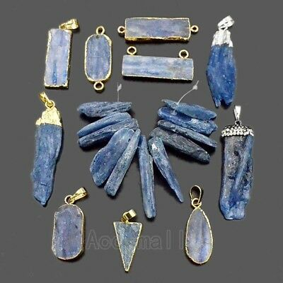 Hot Blue Kyanite Natural Gemstone Crystal Point Healing Pendant Connector Beads