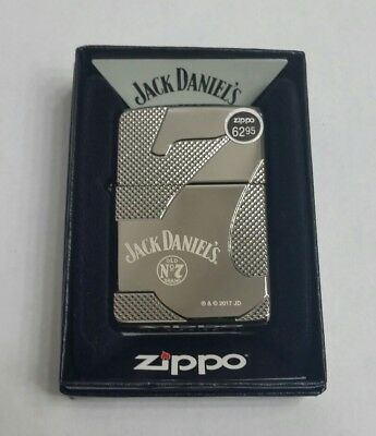 "New Zippo lighter 28817 ""Jack Daniels Old No 7"" Deep Carve Black Ice Finish"