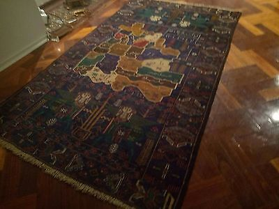 Rare Antique Dated Pictorial Afghani Hand Knotted Persian Rug Carpet