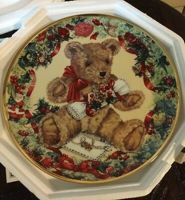 """Franklin Mint Collectible 8"""" Plate~ """"Teddy's First Christmas"""" by Sarah Bengry"""