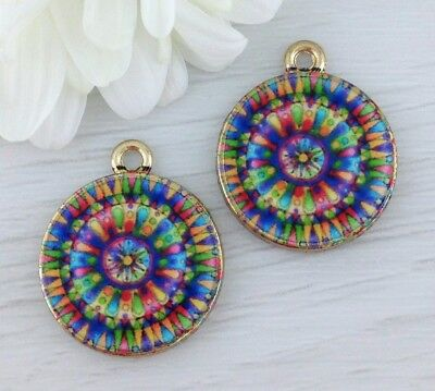 Colourful Mandala Charms 2pcs - Gold Plated with Glass - Buddhism Pendants CH359