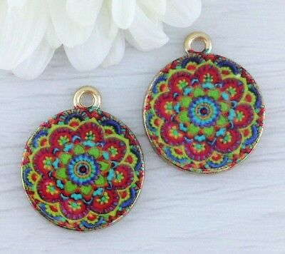 2 Flower Mandala Charms - Gold Plated Pendants - Sacred Geometry Yoga CH363