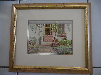Cross Stitch Complete & Framed Petite Point House Completed & Framed