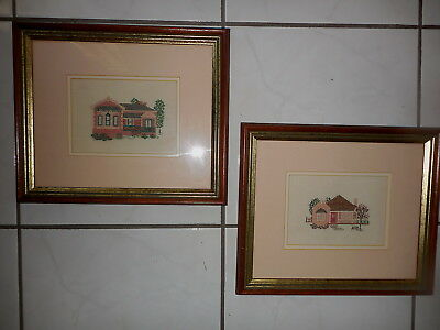 Cross Stitch Complete & Framed Petite Point House X 2 Completed & Framed