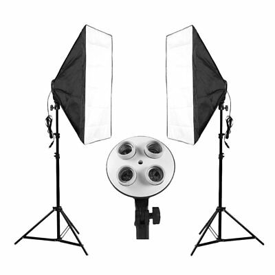 Photography Softbox Continuous Lighting System with 4Lamp Socket&Support StandFV