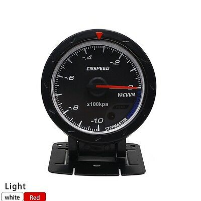 "2.5"" 60mm Car Vacuum Gauge Meter Black Face With Red & White LED Light Racing"