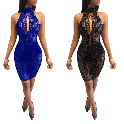 Sexy Women Halter Backless Perspective Paillette Bodycon Cocktail Clubwear Dress
