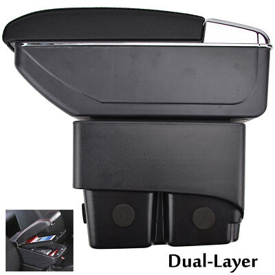 Fit For 2009-2017 Ford Fiesta Mk7 PU Leather Armrest Centre Console Storage Box