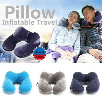 Foldable U-shaped Neck Pillow Inflatable Cushion Travel Air Plane Car Sleeping