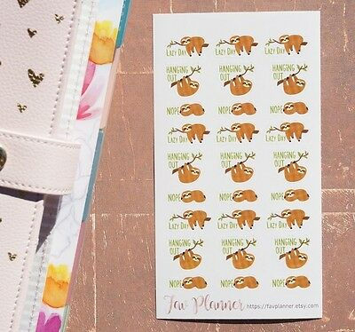 27 Lazy Sloth Planner Stickers. Lazy day, nope sloth sticker