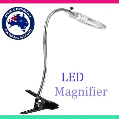 Large Lens Lighted Lamp Desk Magnifier Magnifying Glass with Clamp LED Light AUS