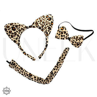 3 Pcs Leopard Print Set with Ears, Tail & Bow Tie - Sexy Cat Animal Fancy Dress
