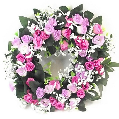 Artificial / Silk Flower Wreath Pink and Lilac Rosebuds and Gyp Grave / Memorial
