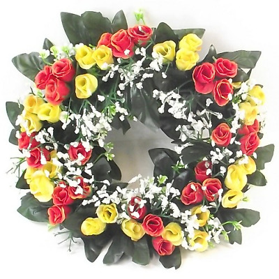Artificial/Silk Flower Wreath Yellow and Orange Rosebuds and Gyp Grave/Memorial