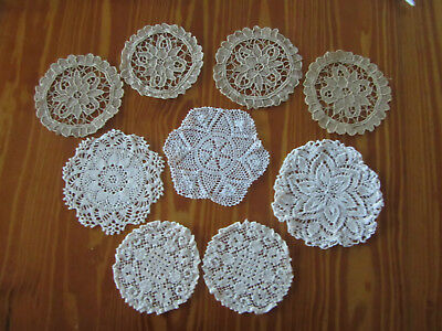 9 X Small Vintage Doilies