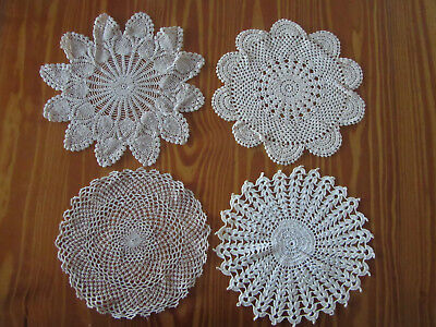 4 X Ecru/Cream Coloured Crochet Vintage Doilies